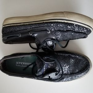 Sperry top sider black glitter boat shoes 6